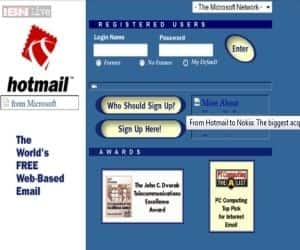 On the last day of December in 1997, Microsoft acquired the free Web-based e-mail service. Hotmail, launched in 1996, was one of the first online email services. Microsoft revamped Hotmail as social-friendly Outlook last year.