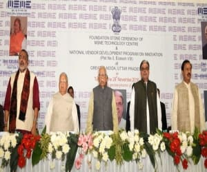 The Governor of Uttar Pradesh, Shri Ram Naik and the Union Minister for Micro, Small and Medium Enterprises, Shri Kalraj Mishra at the foundation stone laying ceremony of MSME Technology Centre, at Greater Noida, Uttar Pradesh on November 29, 2016. The Minister of State for Culture and Tourism (Independent Charge), Dr. Mahesh Sharma and the Ministers of State for Micro, Small & Medium Enterprises, Shri Giriraj Singh and Shri Haribhai Parthibhai Chaudhary are also seen.